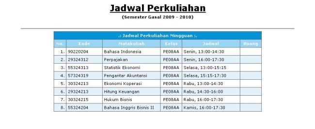 JadwaL Kulyah Smster 3